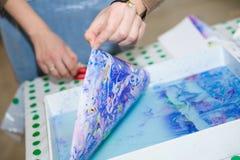 Ebru - бумажная мраморизуя мастерская Стоковое Изображение RF