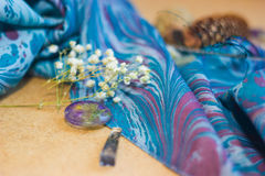 Ebru cloth with epoxy resin crystals and dry flowers abd peacock Stock Images