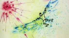 Ebru-Kunst von Ikarus fliegend zur Sonne lizenzfreie abbildung