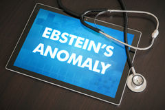 Ebstein's anomaly (heart disorder) diagnosis medical concept on. Tablet screen with stethoscope stock image