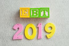 2019 EBT - Earnings before taxes. On a white background Stock Images