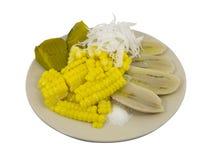Ebullición del plátano, del maíz, de la calabaza y del coco fotos de archivo libres de regalías