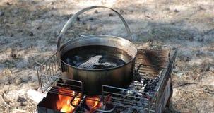Ebullición del té en un cazo grande en el fuego en el aire abierto almacen de metraje de vídeo