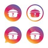 Ebullición 7 minutos Cocinar el icono de la muestra de la cacerola Comida del guisado Foto de archivo