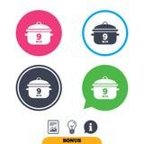 Ebullición 9 minutos Cocinar el icono de la muestra de la cacerola Comida del guisado Imagen de archivo libre de regalías