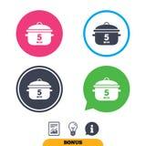 Ebullición 5 minutos Cocinar el icono de la muestra de la cacerola Comida del guisado Imagen de archivo libre de regalías