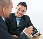 Ebusiness activity. Southeast Asian ebusiness activity, business people on network online discussion Stock Photos