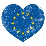 EC, я люблю флаг сердца Европейского союза ретро бесплатная иллюстрация