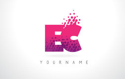 EC E.C.与桃红色紫色颜色和微粒小点Des的Letter Logo 库存图片