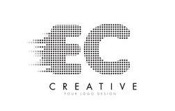 EC E.C.与黑小点和足迹的Letter Logo 免版税库存照片
