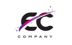 EC E C Black Letter Logo Design with Purple Magenta Swoosh Stock Images