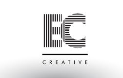 EC E C Black and White Lines Letter Logo Design. Stock Photography