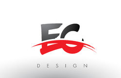 EC E C Brush Logo Letters with Red and Black Swoosh Brush Front Stock Photos