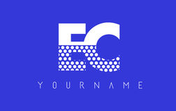 EC E C Dotted Letter Logo Design with Blue Background. Royalty Free Stock Image