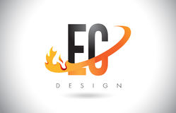 EC E C Letter Logo with Fire Flames Design and Orange Swoosh. Stock Images