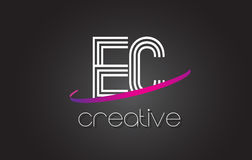 EC E C Letter Logo with Lines Design And Purple Swoosh. Stock Image