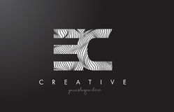 EC E C Letter Logo with Zebra Lines Texture Design Vector. Royalty Free Stock Image