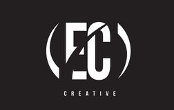 EC E C White Letter Logo Design with Black Background. Stock Photo