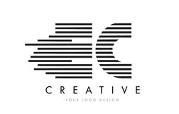 EC E C Zebra Letter Logo Design with Black and White Stripes Royalty Free Stock Images