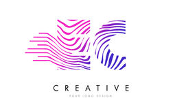 EC E C Zebra Lines Letter Logo Design with Magenta Colors Royalty Free Stock Photo