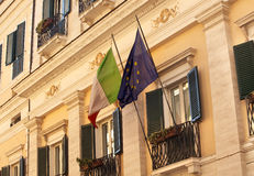 EC Italy Flags Building Rome Stock Photography