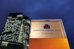 ECB European Central Bank at dusk Royalty Free Stock Images