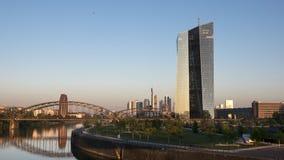 ECB, European Central Bank, River Main Frankfurt. At dawn Royalty Free Stock Photo