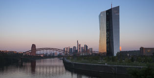 ECB, European Central Bank, River Main Frankfurt. Frankfurt, Germany - August 28, 2016: ECB, European Central Bank, River Main and Frankfurt skyline at dawn Royalty Free Stock Image