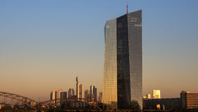ECB, European Central Bank, Skyline Frankfurt. At dawn Royalty Free Stock Photography