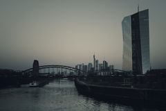 ECB, European Central Bank, Skyline Frankfurt. At dawn - desaturated image Stock Photo