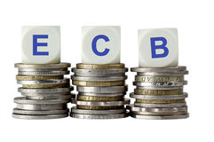 ECB - European Central Bank. Stacks of coins with the letters ECB isolated on white background Royalty Free Stock Photos