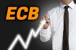 ECB trader draws market price on touchscreen.  Stock Photo