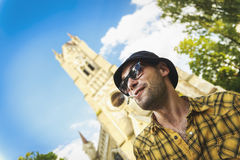 Eccentric drunk young guy Royalty Free Stock Images