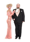 Eccentric Fat Man in a Tuxedo and Beautiful Lady in an Evening D Stock Photography