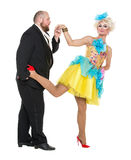 Eccentric Fat Man in a Tuxedo and Beautiful Lady in an Evening D. Ress, drag queen artists on white background stock images