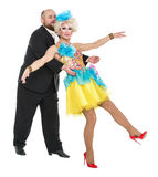 Eccentric Fat Man in a Tuxedo and Beautiful Lady in an Evening D. Ress, drag queen artists on white background stock image