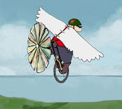 Eccentric inventor. Man taking off with homemade flying machine Royalty Free Stock Image