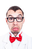 Eccentric lab geek face Stock Images