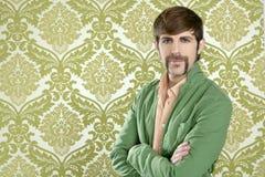 Eccentric retro mustache geek man salesperson royalty free stock image