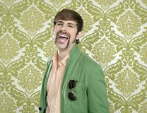 Eccentric retro mustache geek man salesperson Stock Photography