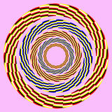 Eccentric rotating circle. optical illusion. Abstract design with geometric shapes optical illusion illustration Royalty Free Stock Photography