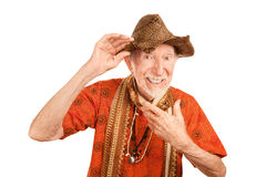 Eccentric senior man in straw hat Royalty Free Stock Images