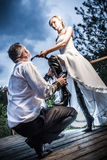 Eccentric wedding young couple Stock Photography