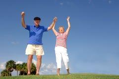 Eccitamento di pensione degli anziani fotografie stock