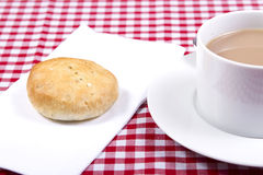 Eccles cakes. An eccles cake with a cup of tea Royalty Free Stock Image