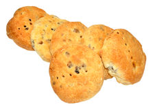 Eccles Cakes. Traditional English Eccles cakes with flaky butter pastry filled with currants, also known as squashed fly cakes, isolated on a white background Royalty Free Stock Photography