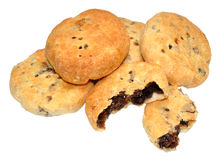 Eccles Cakes. Traditional English Eccles cakes with flaky butter pastry filled with currants, also known as squashed fly cakes, isolated on a white background Stock Photo