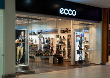 Ecco handbag and shoes fashion store Stock Images