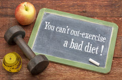 Ecercise and bad diet concept Royalty Free Stock Photography