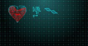 ECG心脏病显示器是平的线 显示脉动的心率的ECG 优质,充分的4K动画 标志的 向量例证